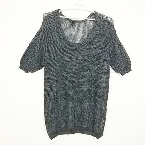Torrid Open Weave Sweater Short Sleeve Gray #3668